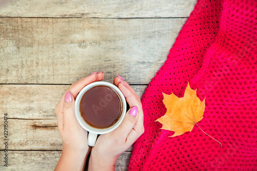 Foto op Plexiglas Chocolade A cup of tea and a cozy autumn background. Selective focus.