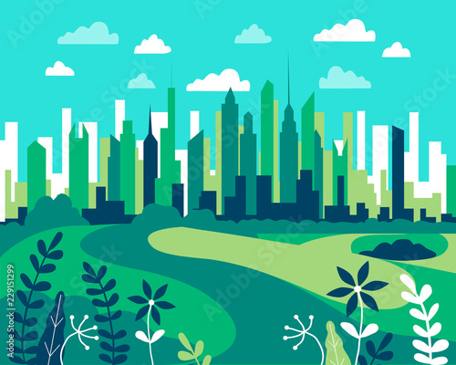 Wall Murals Green coral City landscape flat. Design urban illustration vector in simple minimal geometric style with buildings, lake flowers and trees abstract background for header images for websites, banners, covers