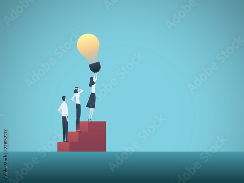 Business creativity vector illustration concept with business woman and lightbulb. Symbol of creative ideas, solutions, innovation, invention and success.
