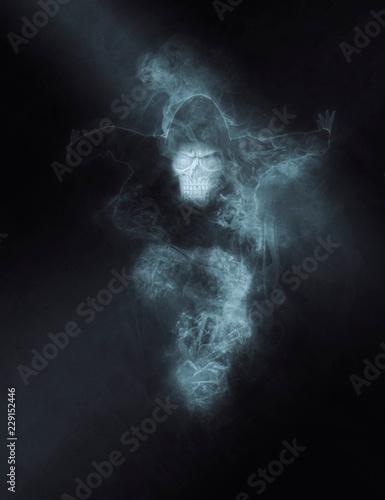 Photo Terrible ghost on dark smoke