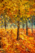 Oil Painting Landscape - Colorful Autumn Forest. Abstract Paint
