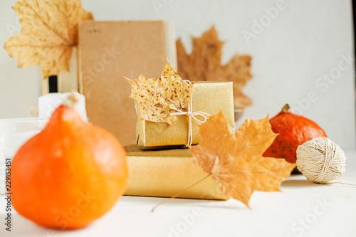 Fotografía  Still life on white. Pumpkins, autumn leaves