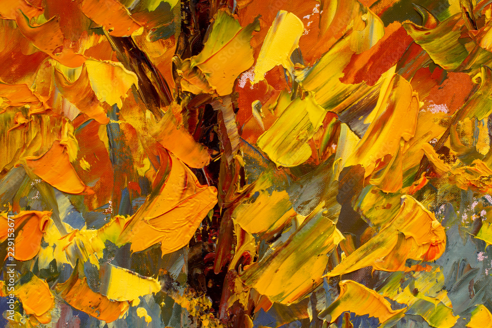 Fototapety, obrazy: Gold autumn palette knife art. Highly-textured colorful yellow orange red impressionism autumn abstract painting background. Brush stroke. Natural texture of oil paint. High quality details.