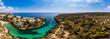 canvas print picture Luftaufnahme, Spanien, Balearen, Mallorca, Gemeinde Llucmajor,  Bucht Cala Pi mit Strand und Felsenküste und Tore de Cala Pi