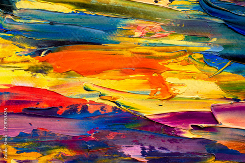 Yellow Orange Red Abstract Painting Fragment Modern