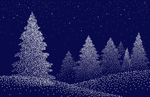 Winter Background Landscape With Fir Trees And Pines In Snow