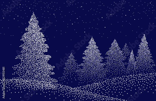 fototapeta na lodówkę Winter background landscape with fir trees and pines in snow