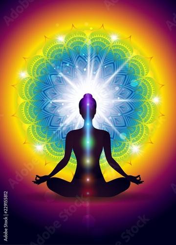 Yoga Logo In Green Background Slika na platnu