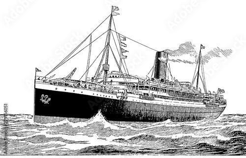 Vintage Transatlantic Ship Engraving Canvas Print