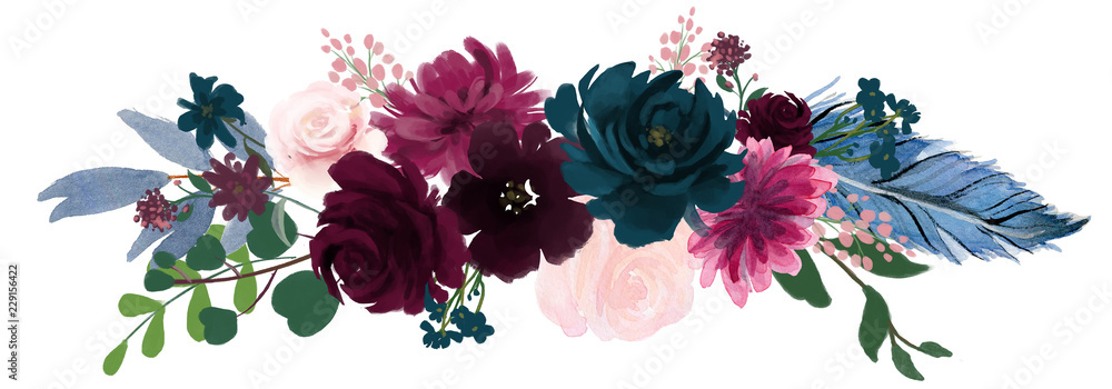 Fototapety, obrazy: Watercolor vintage floral composition Pink and blue Floral Bouquet Flowers and Feathers Isolated