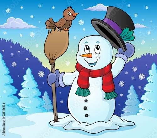 Winter snowman subject image 2