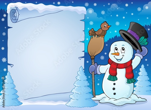 In de dag Voor kinderen Winter snowman subject parchment 2