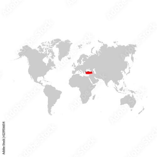 Turkey on world map – kaufen Sie diese Illustration und finden Sie ...