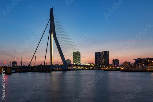 Fotobehang Oceanië Erasmusbrug after sunset from Wilhelminakade, Rotterdam (2)