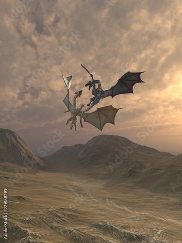 Naklejka premium Agresywne smoki walki w górski krajobraz - ilustracja fantasy