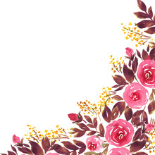 Loose Watercolor Flowers In Pink And Purple. Hand Painted Template With Roses And Leaves
