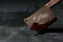 Old And Rusty Meat Cleaver Full Of Blood