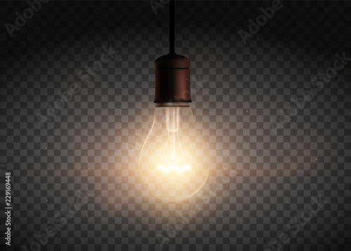 Template Edison retro light bulb is glowing in the dark Fototapeta
