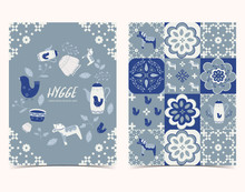 Blue Set Of Hygge Cards And Posters With Bird,tile Pattern,flower And Dala Horse