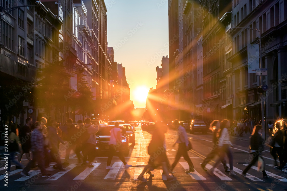 Fototapety, obrazy: Sunlight shines over the buildings and people of a busy Midtown Manhattan street scene in New York City