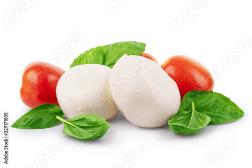 Cuadros en Lienzo Mozzarella cheese with cherry tomatoes and basil on a white background