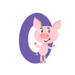 Number zero with cute cartoon pig isolated on white.