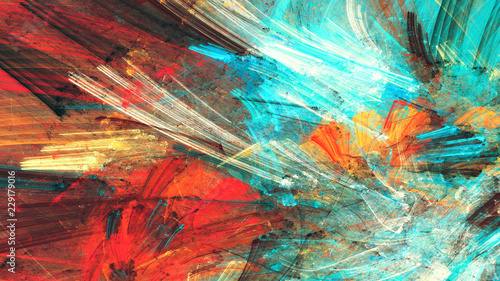 Zdjęcie XXL Bright artistic splashes. Abstract painting color texture. Modern futuristic pattern. Multicolor dynamic background. Fractal artwork for creative graphic design