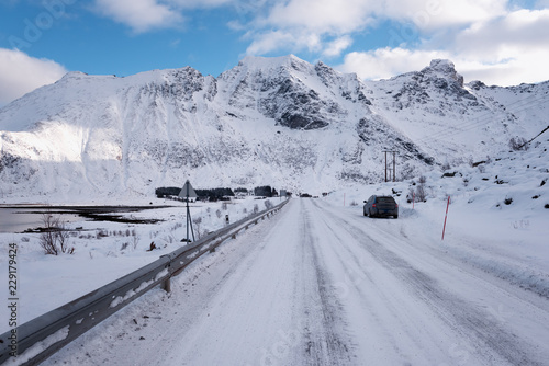 Winter daytime landscape in the Norway. The main way along the Lofoten Islands, Lofast road E10 also known as King Olav V's road