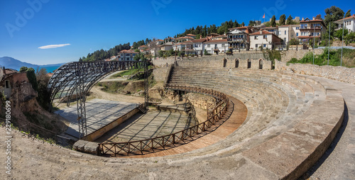 In de dag Theater Ancient roman theater in Ohrid in Macedonia