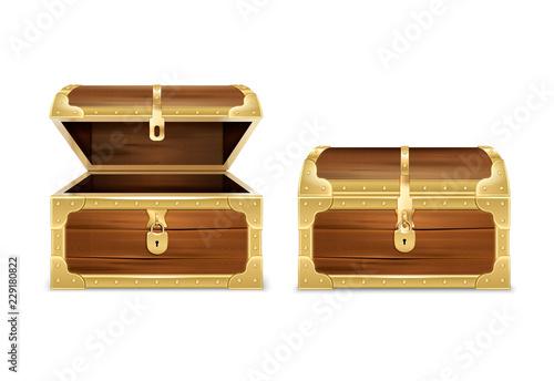 Obraz na plátně Wooden Chest Realistic Set