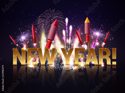 Obraz na plátne New Year Fireworks Background