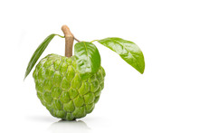 Custard Apple Isolated On White Background With Stem And Leaves
