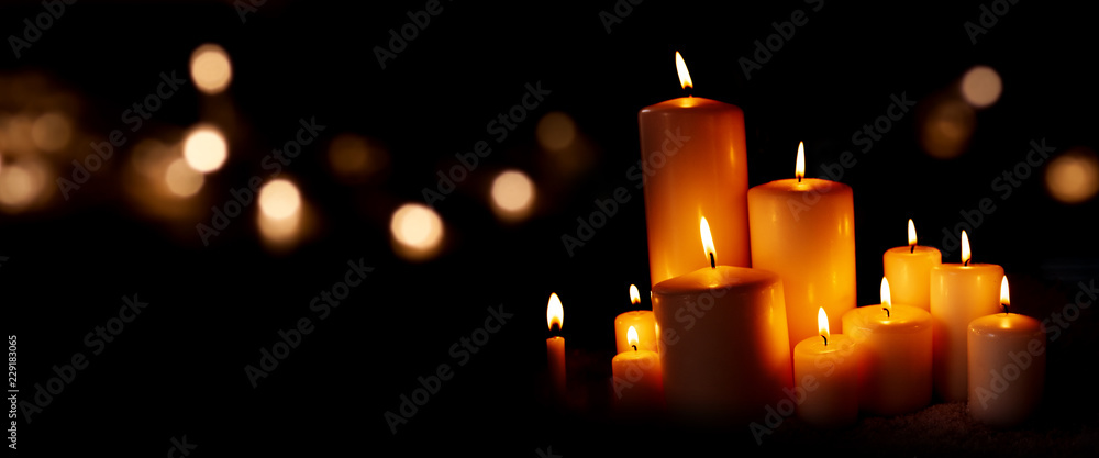 Fototapeta Candle lights and bokeh in the night