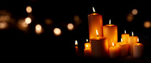 Candle Lights And Bokeh In The Night