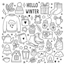 Winter Illustrations Set. Cute Vector Icons: Sweater, Hat, Snowflakes, Present, Snowman, Socks, Lantern, Tea, Book, Letter Etc.