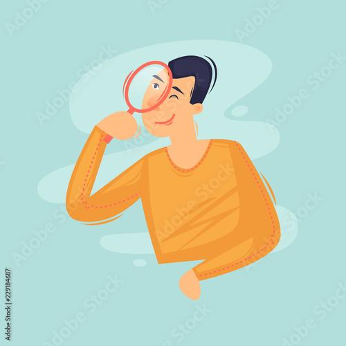 Fototapeta Search page. Error. 404. Man with magnifying glass. Flat design vector illustration obraz na płótnie