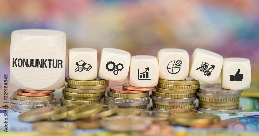 Fototapeta Konjunktur / Münzenstapel mit Symbole