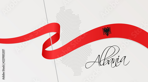 Wavy national flag and radial dotted halftone map of Albania Wallpaper Mural