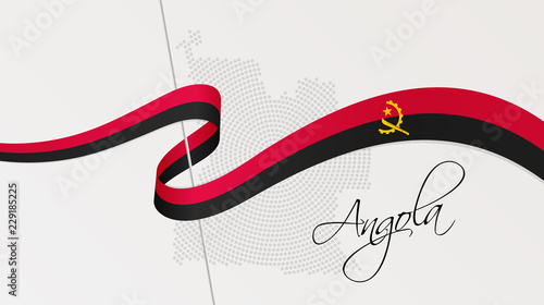Wavy national flag and radial dotted halftone map of Angola Wallpaper Mural