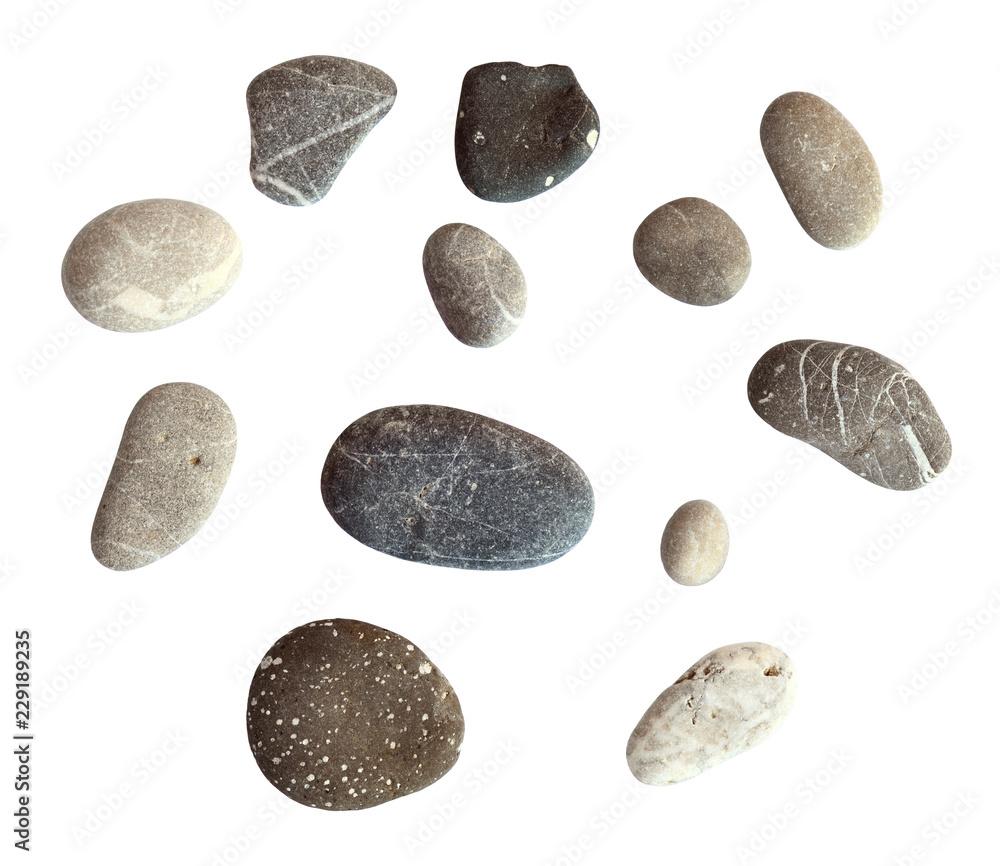 Fototapety, obrazy: Set of sea pebbles