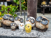 Cute Owl Dolls In Japenese Gar...
