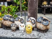 Cute Owl Dolls In Japenese Garden