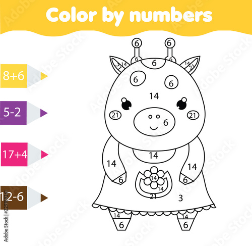 Coloring Page With Cute Giraffe Color By Numbers Printable Activity Mathematics Game For Toddlers Buy This Stock Vector And Explore Similar Vectors At Adobe Stock Adobe Stock