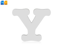 Letters Y Made From Wood Material Isolated On White Background. Blank Wooden Font For Your Design. Clipping Paths Object.