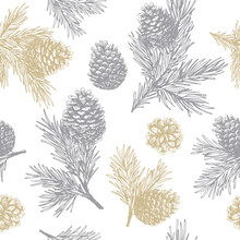 Pine Cones And Branches Seamless Pattern. Christmas Gift Wrapping. Vector Illustration