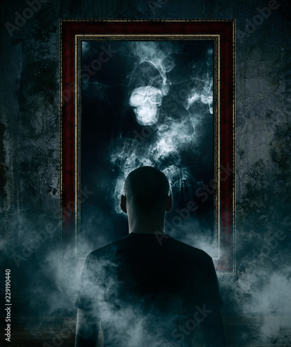 Fotomural Mirror. Terrible ghost on dark smoke