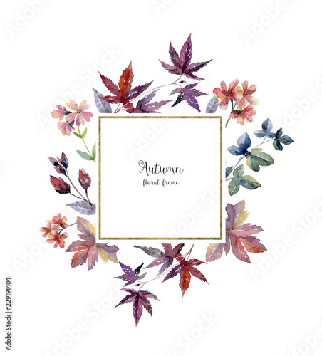 Foto op Canvas Bloemen Watercolor floral frame in autumn colors on white background.