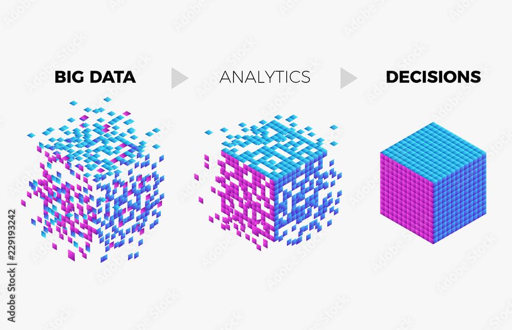 Fototapeta Big data analytics algorithm concept illustration