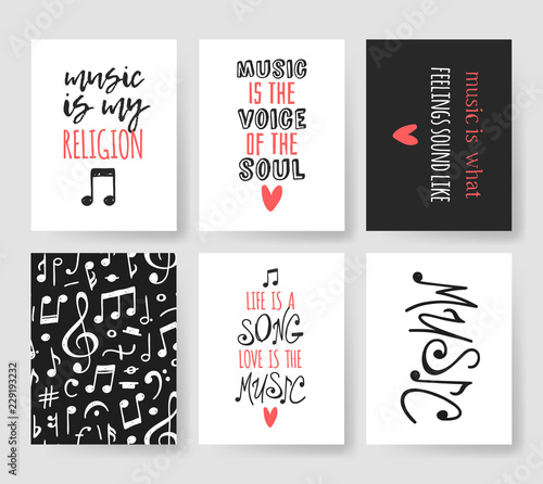 Fotomural Set of Hand drawn quote about music