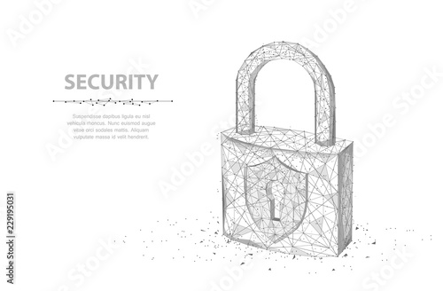 Photographie Lock. Abstract 3d wireframe lock isolated on white.